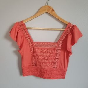 🌸Forever 21 Coral Lace Crop Top Size Medium